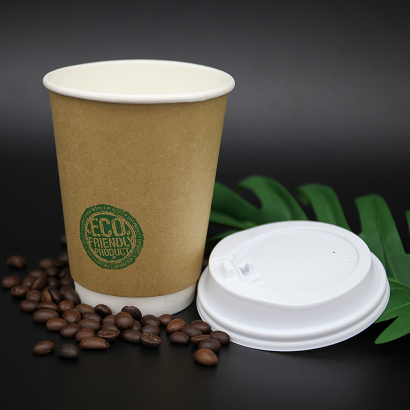 Single double wall pure kraft coffee paper cup